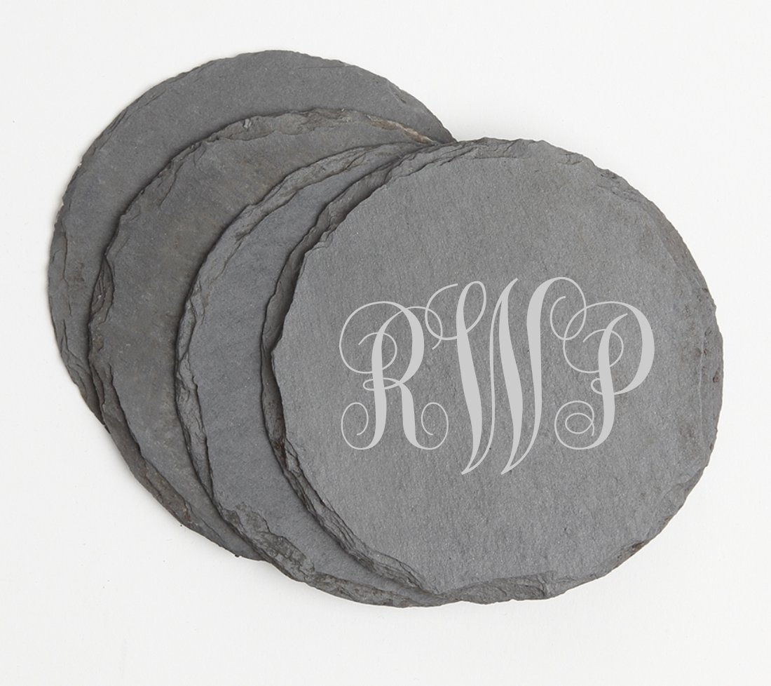 Personalized Slate Coasters Round Engraved Slate Coaster Set DESIGN 1 SCSR-001