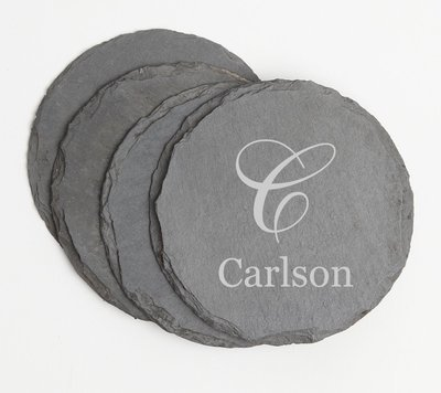 Personalized Slate Coasters Round Engraved Slate Coaster Set DESIGN 3