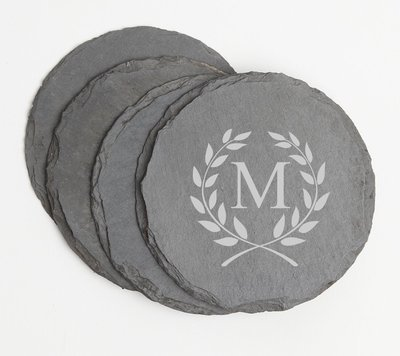 Personalized Slate Coasters Round Engraved Slate Coaster Set DESIGN 6