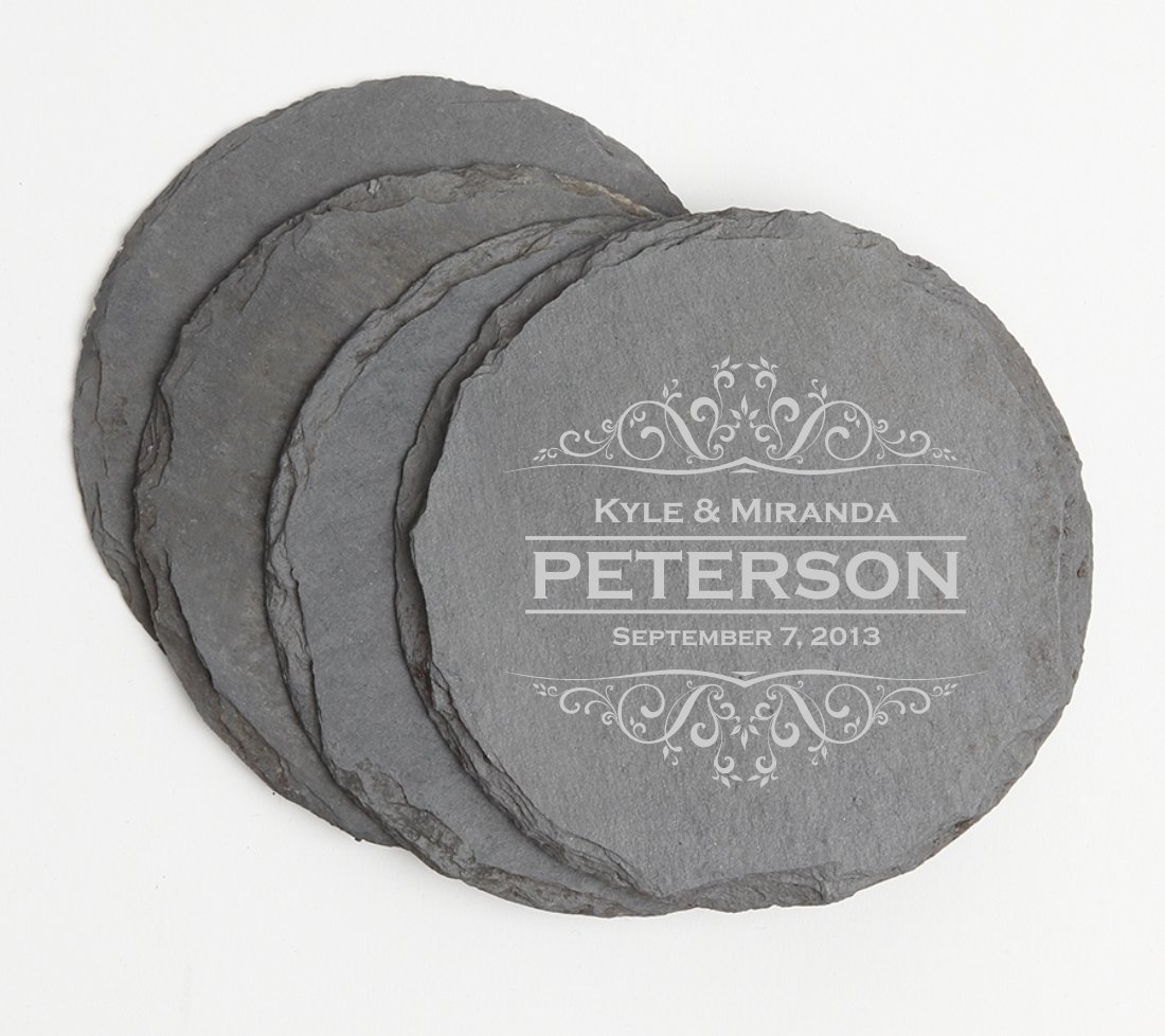 Personalized Slate Coasters Round Engraved Slate Coaster Set DESIGN 7