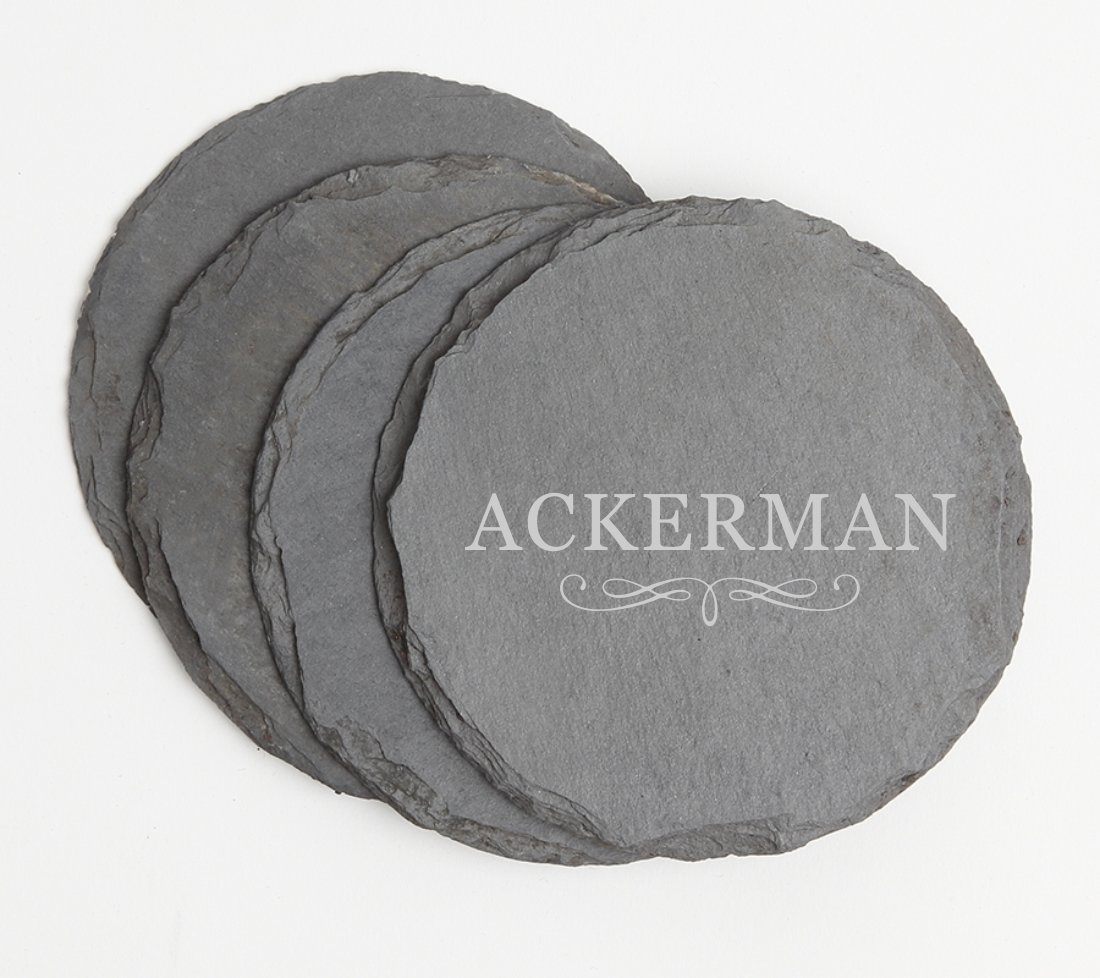 Personalized Slate Coasters Round Engraved Slate Coaster Set DESIGN 8 SCSR-008