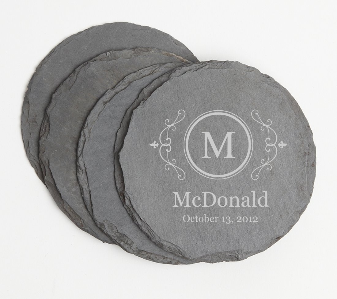 Personalized Slate Coasters Round Engraved Slate Coaster Set DESIGN 10 SCSR-010