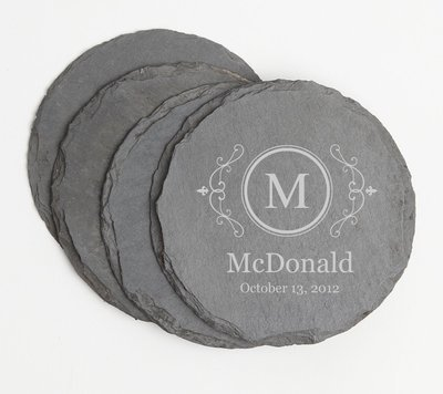 Personalized Slate Coasters Round Engraved Slate Coaster Set DESIGN 10