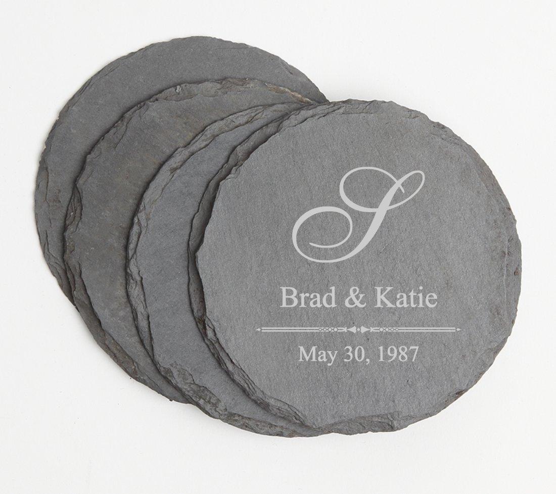 Personalized Slate Coasters Round Engraved Slate Coaster Set DESIGN 11