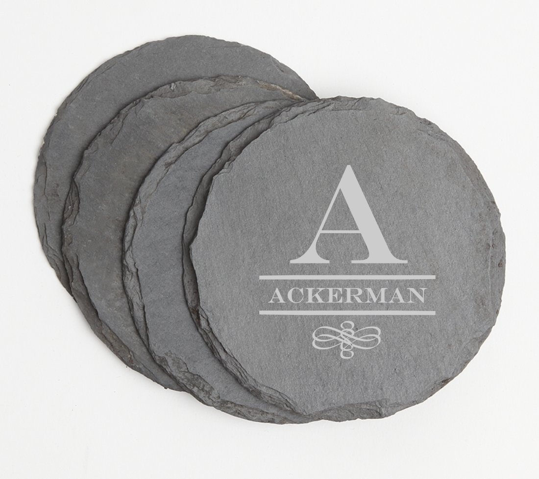 Personalized Slate Coasters Round Engraved Slate Coaster Set DESIGN 12 SCSR-012