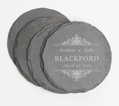 Personalized Slate Coasters Round Engraved Slate Coaster Set DESIGN 14