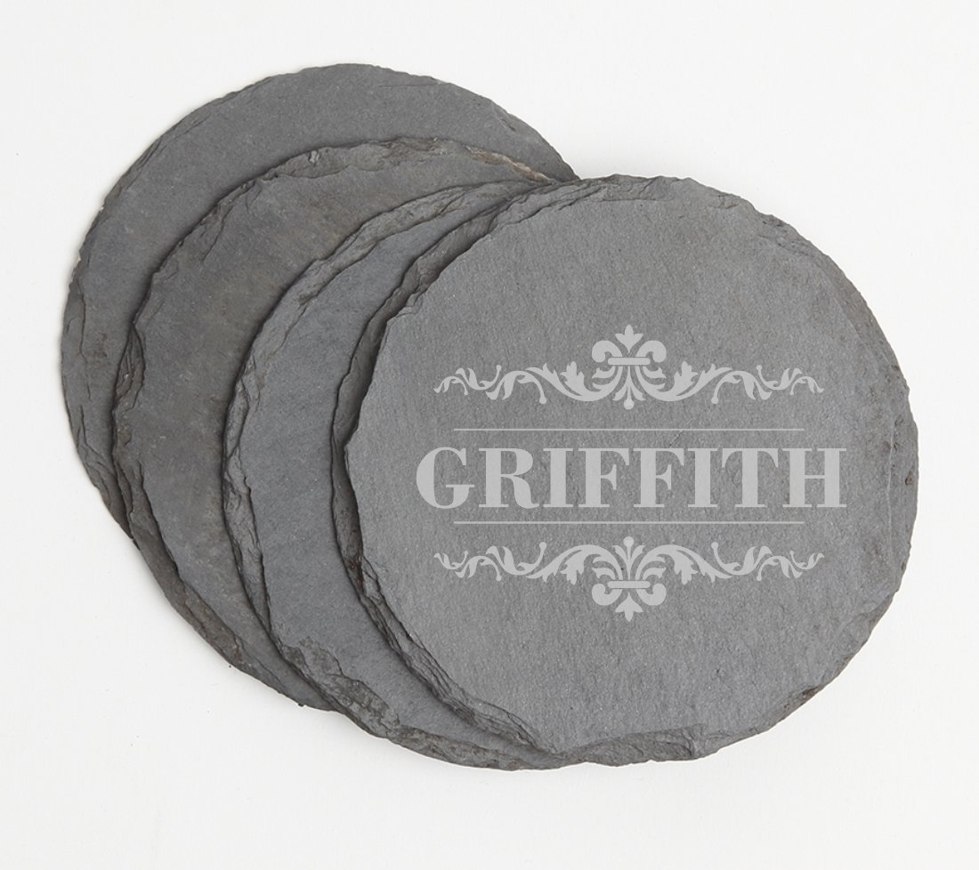 Personalized Slate Coasters Round Engraved Slate Coaster Set DESIGN 16 SCSR-016