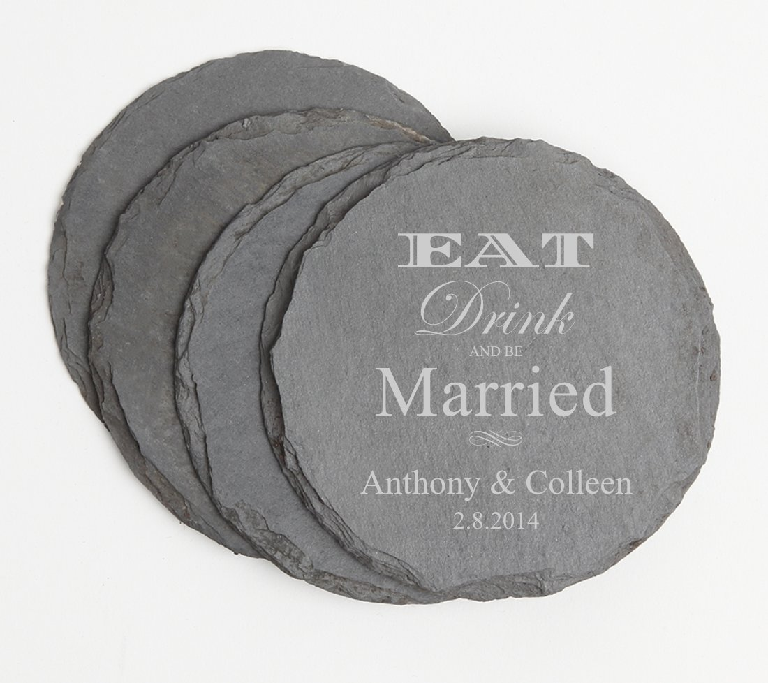 Personalized Slate Coasters Round Engraved Slate Coaster Set DESIGN 17 SCSR-017