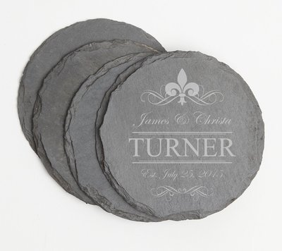 Personalized Slate Coasters Round Engraved Slate Coaster Set DESIGN 20