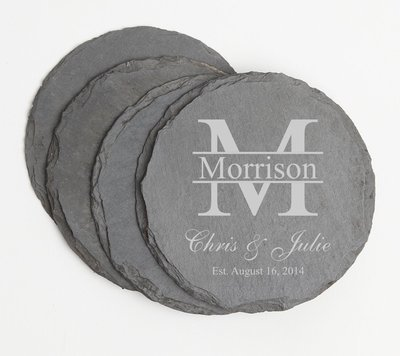 Personalized Slate Coasters Round Engraved Slate Coaster Set DESIGN 24
