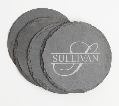 Personalized Slate Coasters Round Engraved Slate Coaster Set DESIGN 25