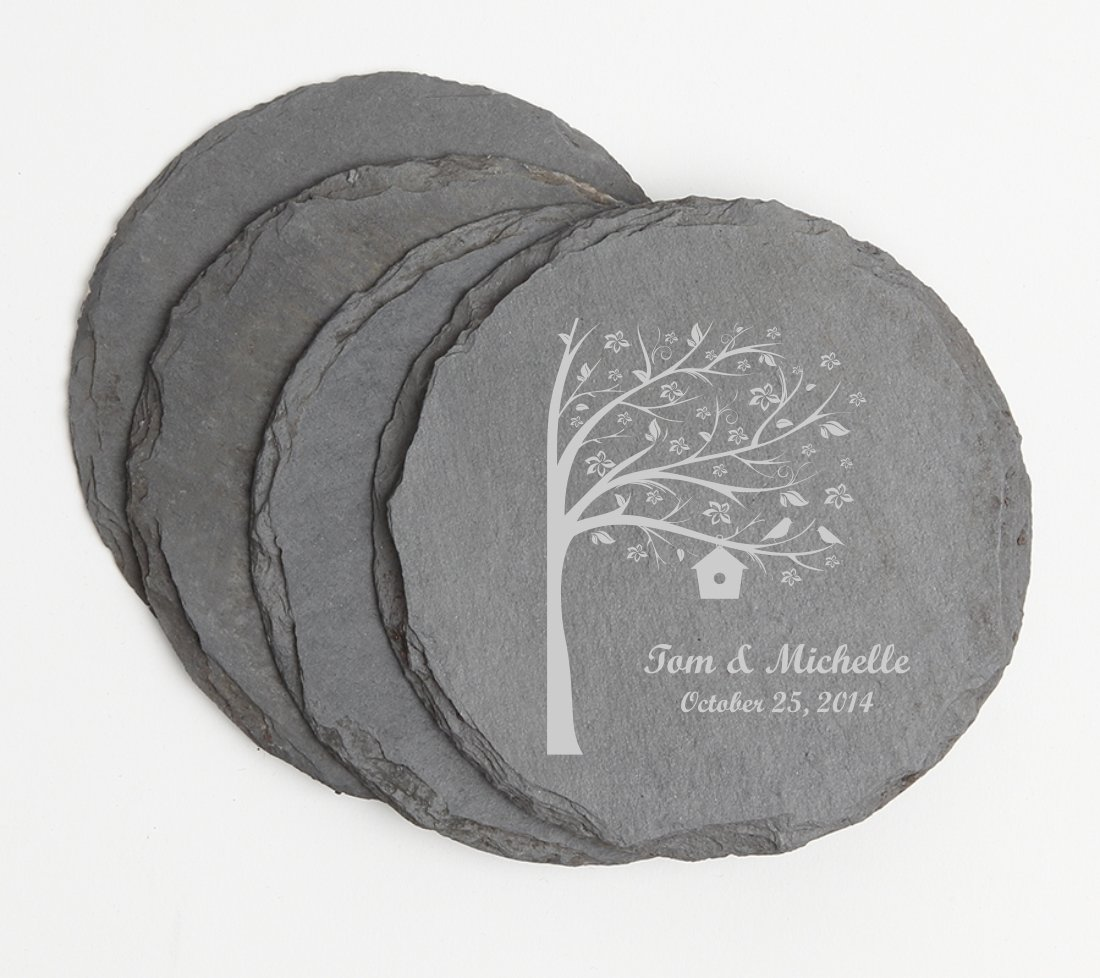 Personalized Slate Coasters Round Engraved Slate Coaster Set DESIGN 27 SCSR-027