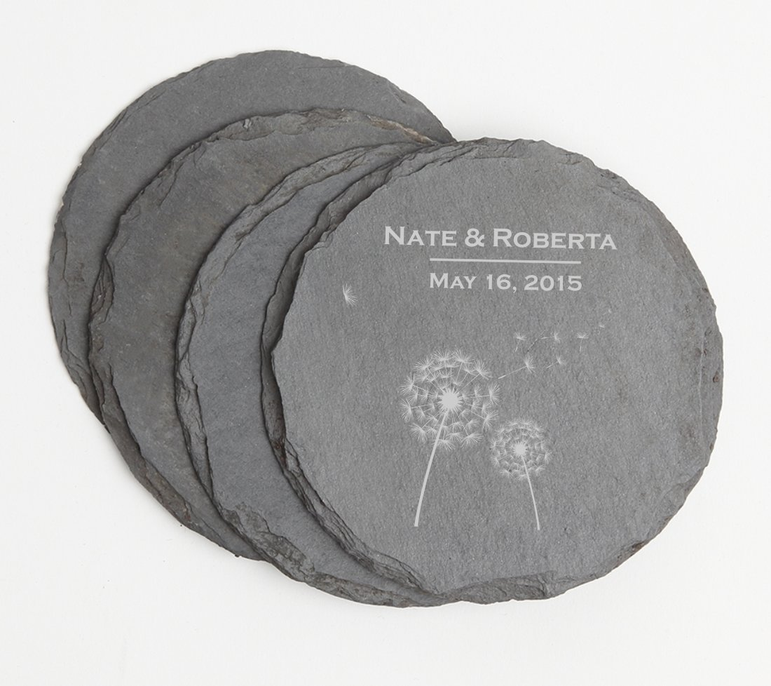 Personalized Slate Coasters Round Engraved Slate Coaster Set DESIGN 28 SCSR-028