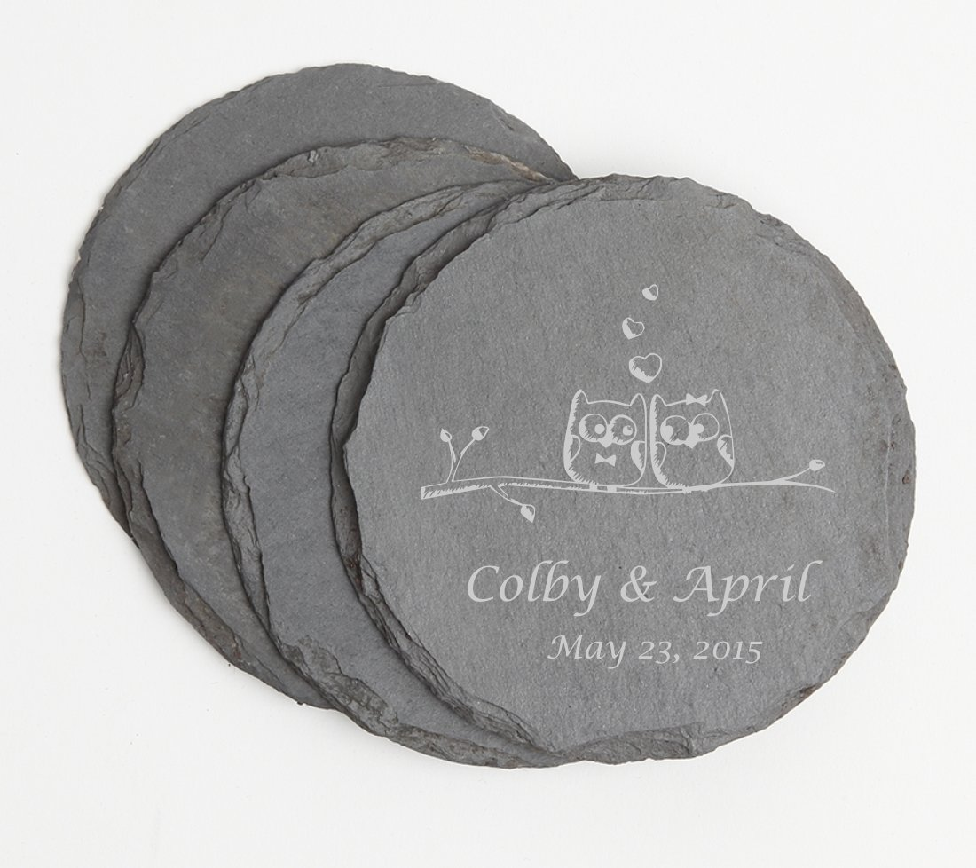 Personalized Slate Coasters Round Engraved Slate Coaster Set DESIGN 29 SCSR-029