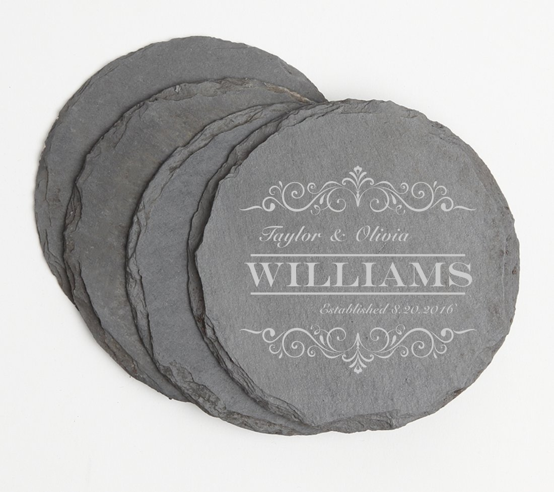 Personalized Slate Coasters Round Engraved Slate Coaster Set DESIGN 34 SCSR-034