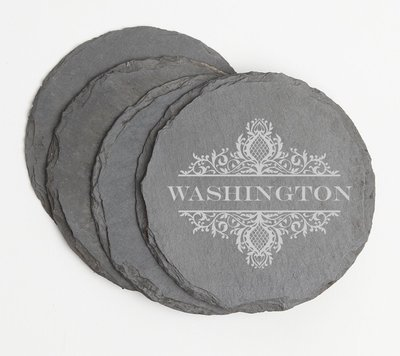 Personalized Slate Coasters Round Engraved Slate Coaster Set DESIGN 36