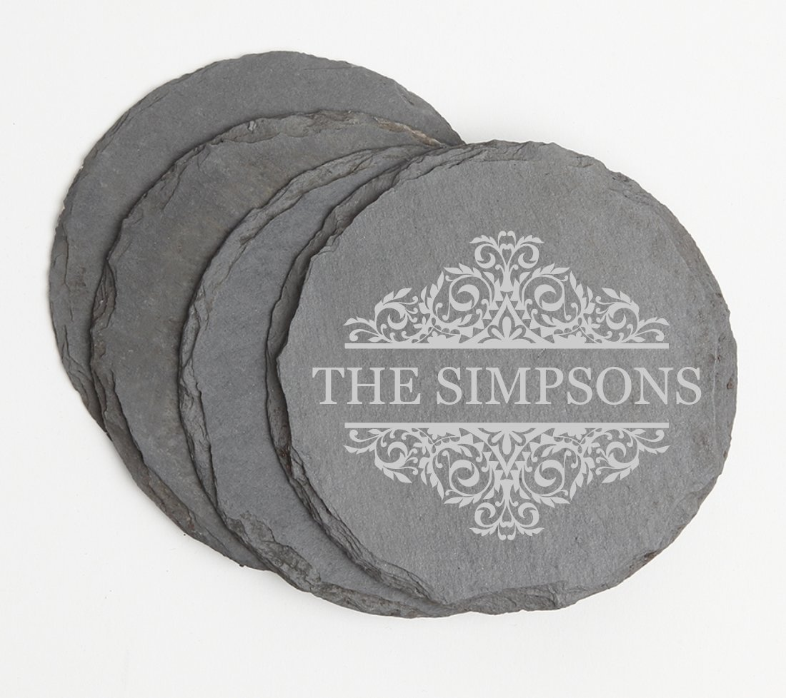 Personalized Slate Coasters Round Engraved Slate Coaster Set DESIGN 39 SCSR-039