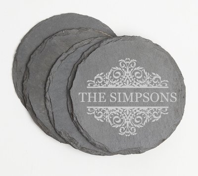 Personalized Slate Coasters Round Engraved Slate Coaster Set DESIGN 39