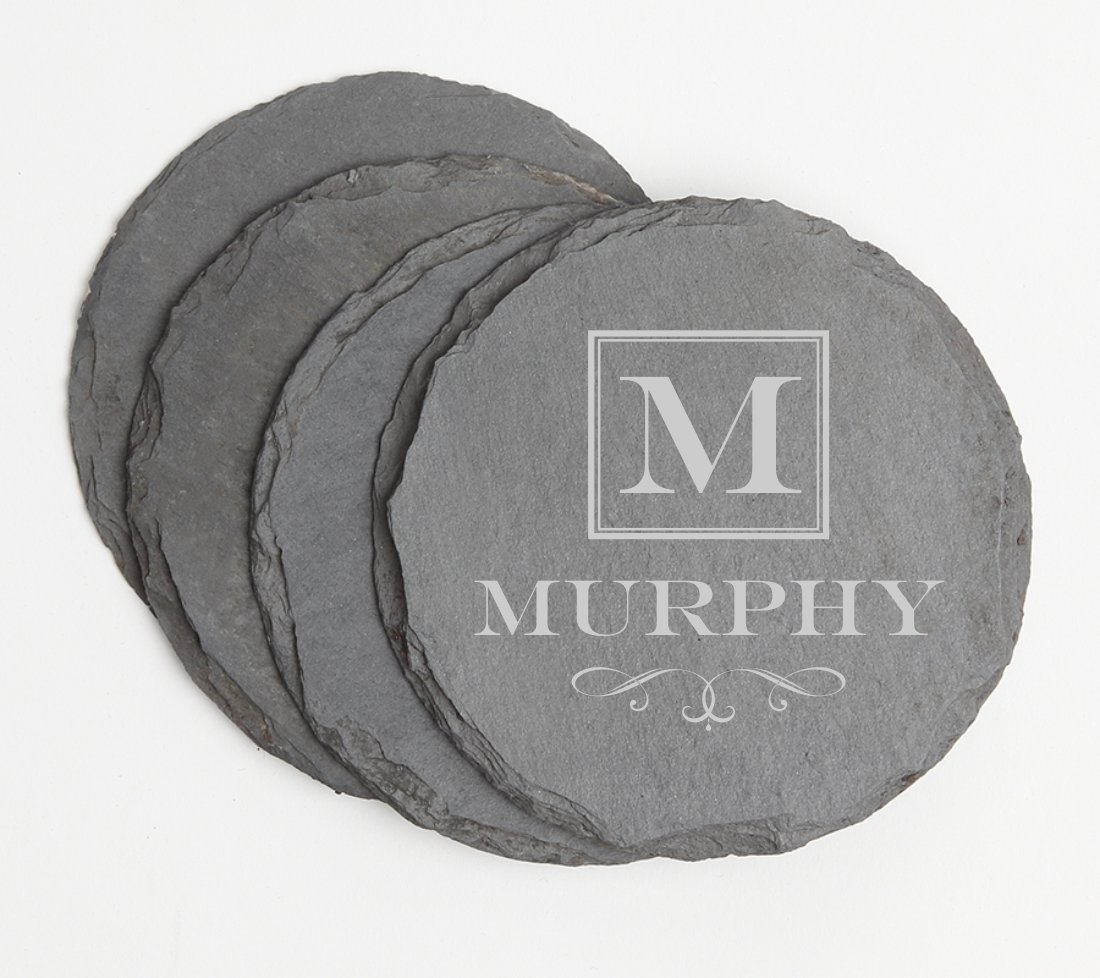 Personalized Slate Coasters Round Engraved Slate Coaster Set DESIGN 41