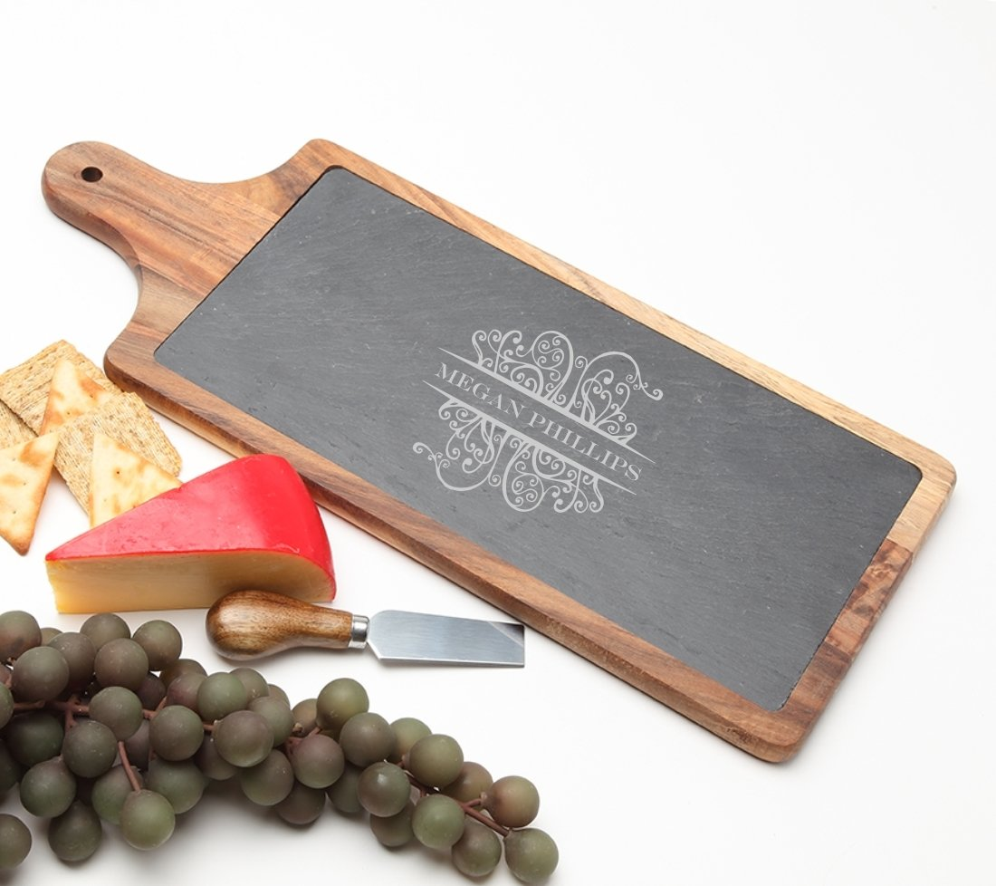 Personalized Cheese Board Slate and Acacia Wood 17 x 7 DESIGN 4 SCBA-004