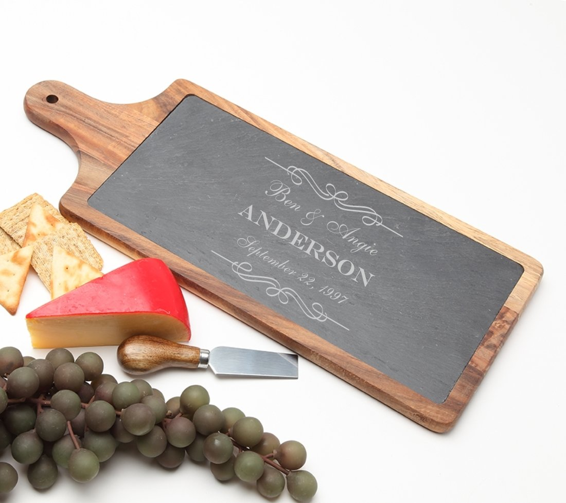 Personalized Cheese Board Slate and Acacia Wood 17 x 7 DESIGN 9 SCBA-009