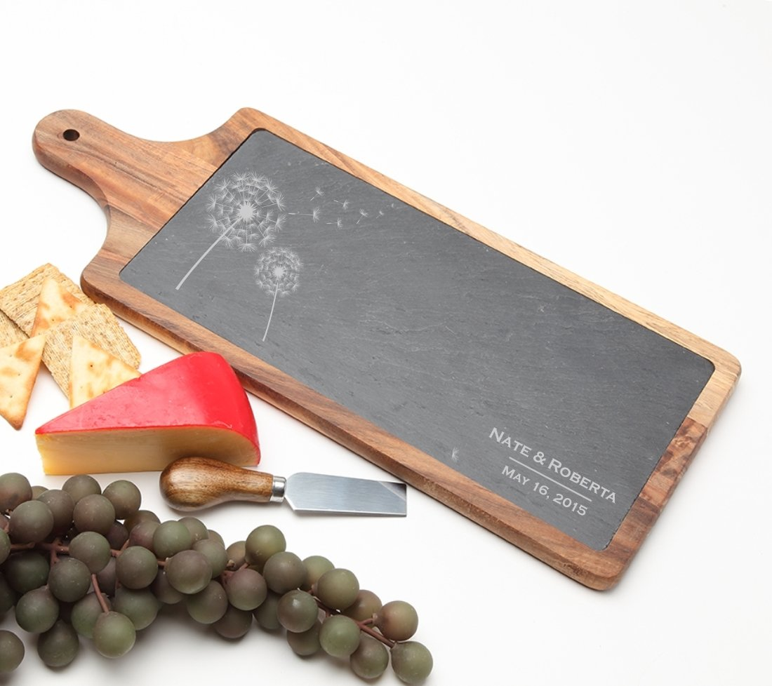 Personalized Cheese Board Slate and Acacia Wood 17 x 7 DESIGN 28 SCBA-028