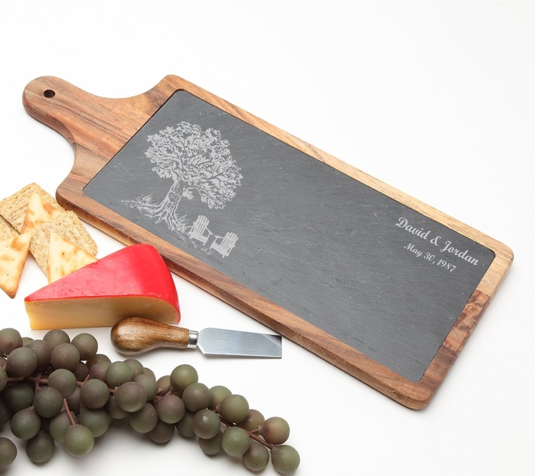 Personalized Cheese Board Slate and Acacia Wood 17 x 7 DESIGN 31 SCBA-031