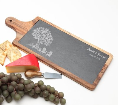 Personalized Cheese Board Slate and Acacia Wood 17 x 7 DESIGN 31