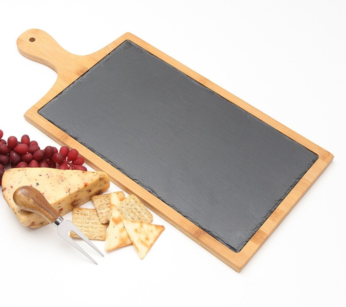 Engraved Cheese Board Slate and Bamboo 19 x 9 DESIGN 1