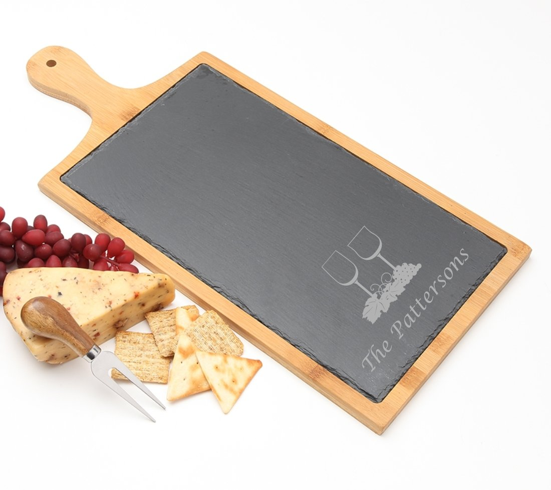 Personalized Cheese Board Slate and Bamboo Wood 19 x 9 DESIGN 5