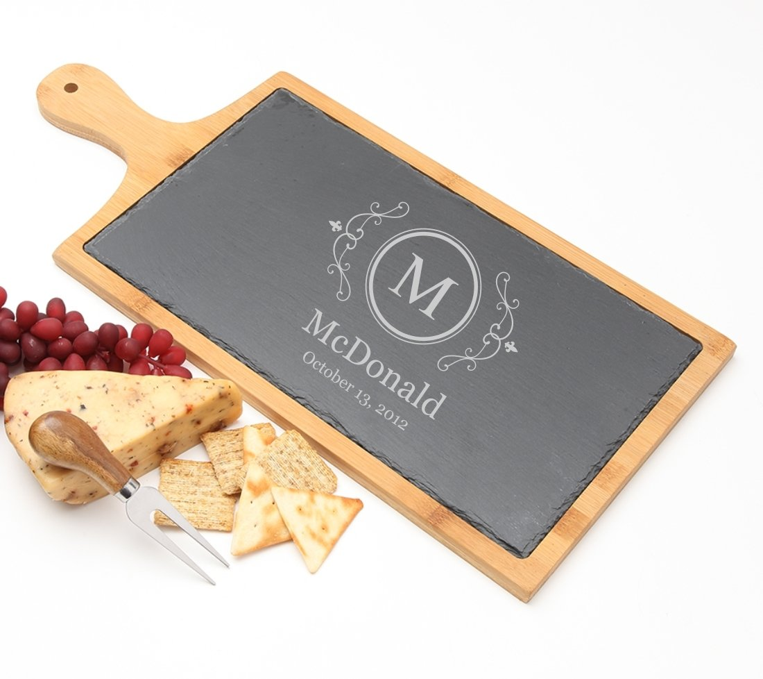 Personalized Cheese Board Slate and Bamboo Wood 19 x 9 DESIGN 10 SCBB-010