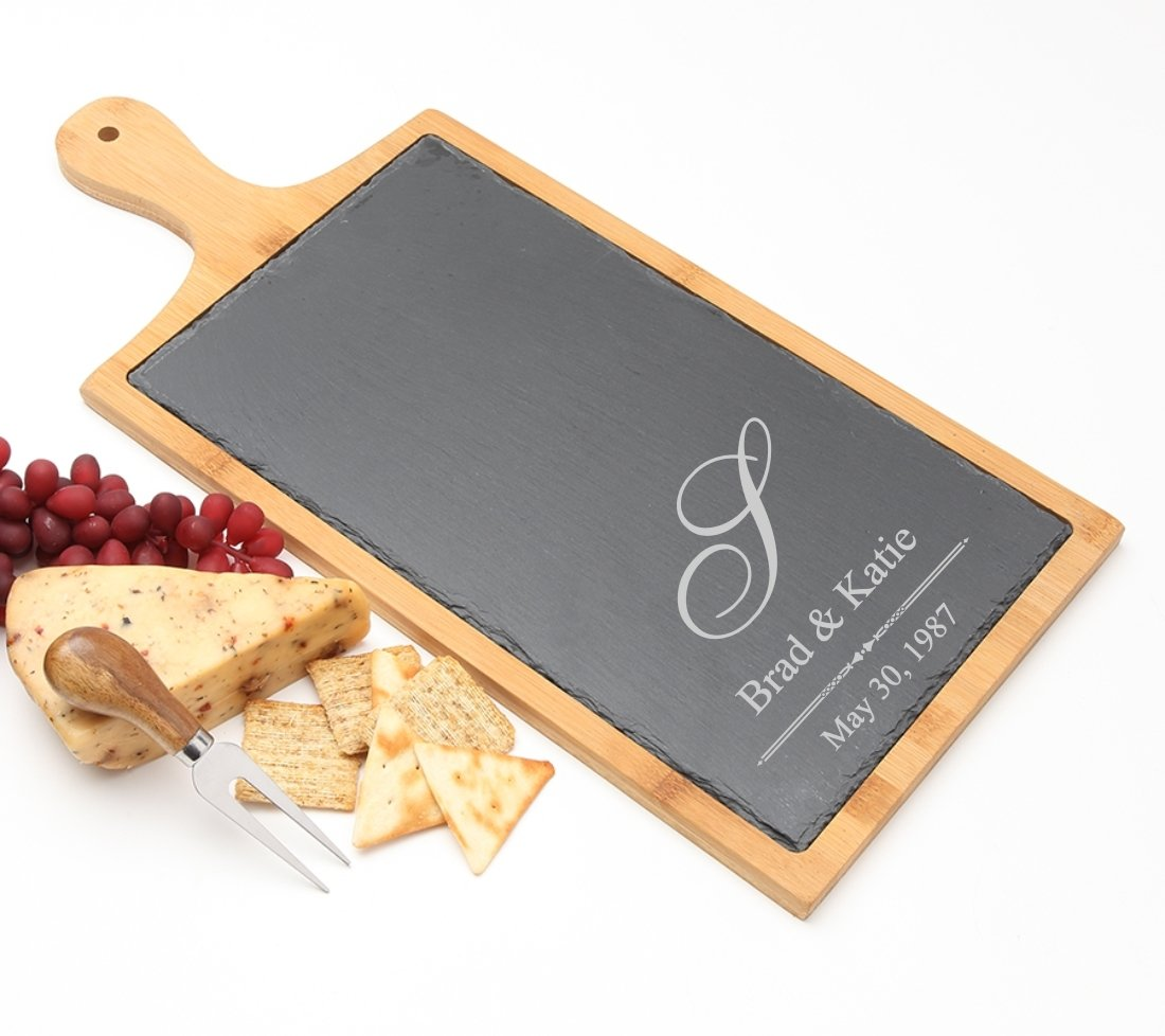Personalized Cheese Board Slate and Bamboo Wood 19 x 9 DESIGN 11 SCBB-011