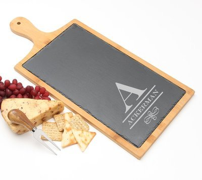 Personalized Cheese Board Slate and Bamboo Wood 19 x 9 DESIGN 12