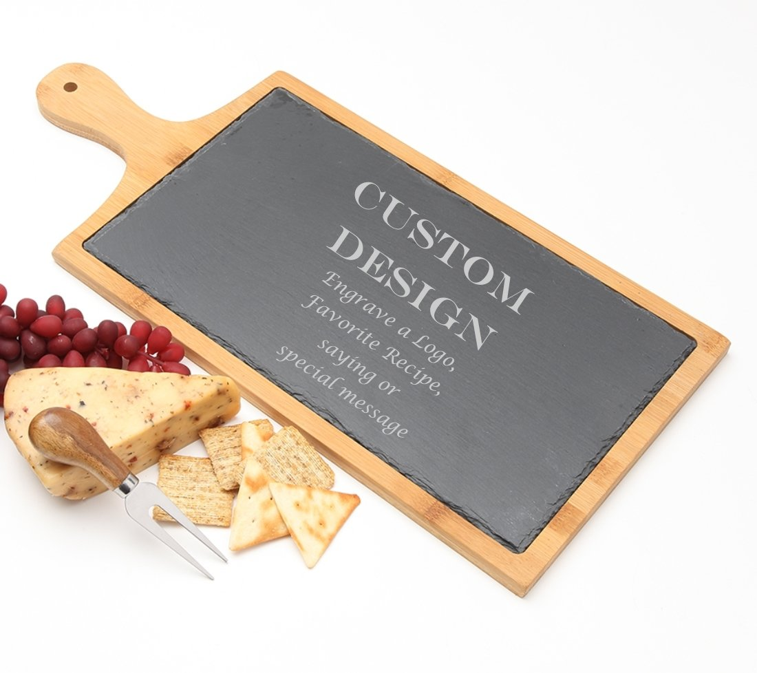 Personalized Cheese Board Slate and Bamboo 19 x 9 DESIGN 13 SCBB-013