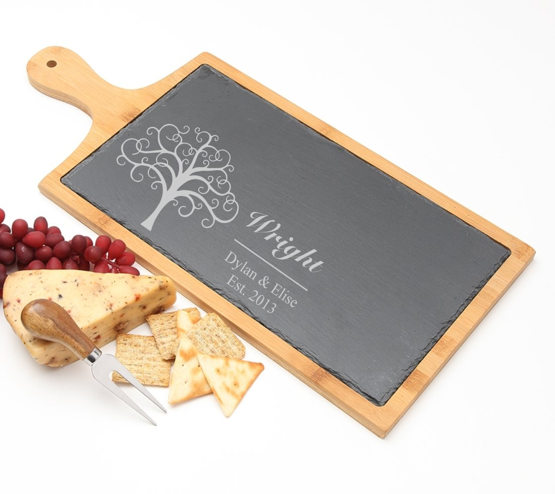 Personalized Cheese Board Slate and Bamboo 19 x 9 DESIGN 18 SCBB-018