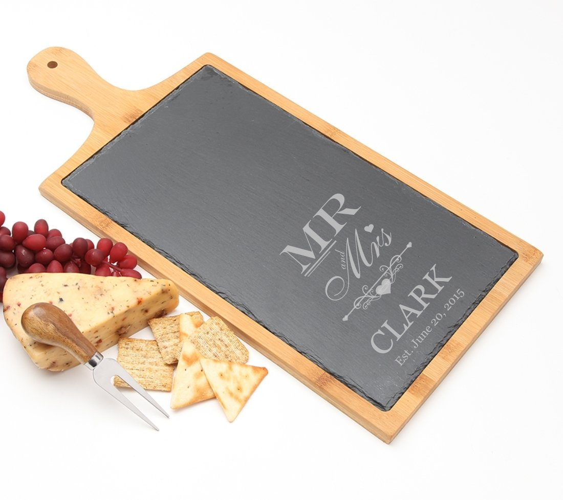 Personalized Cheese Board Slate and Bamboo 19 x 9 DESIGN 21 SCBB-021