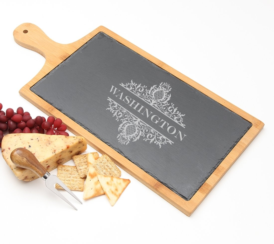 Personalized Cheese Board Slate and Bamboo 19 x 9 DESIGN 36 SCBB-036