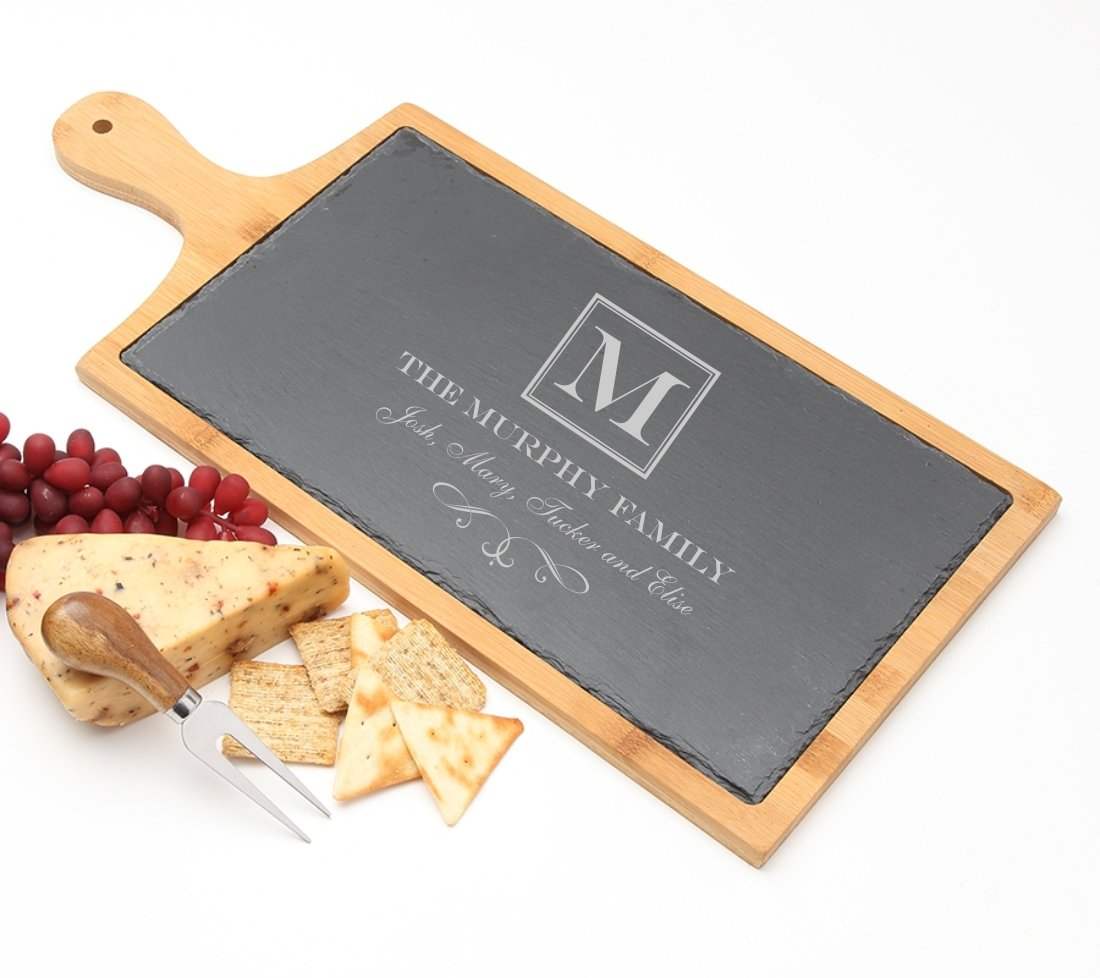 Personalized Cheese Board Slate and Bamboo 19 x 9 DESIGN 41 SCBB-041