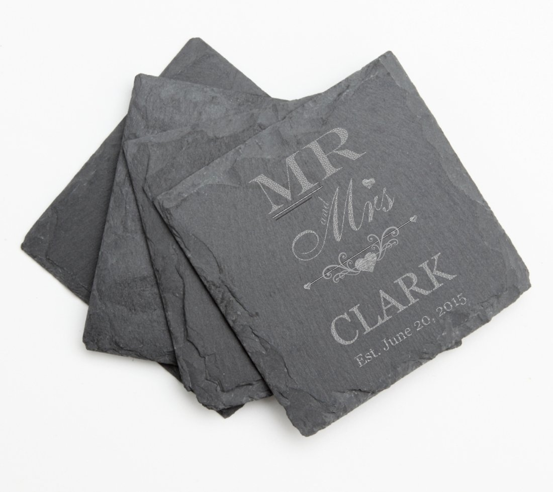 Engraved Slate Coaster Set of 4 Coasters