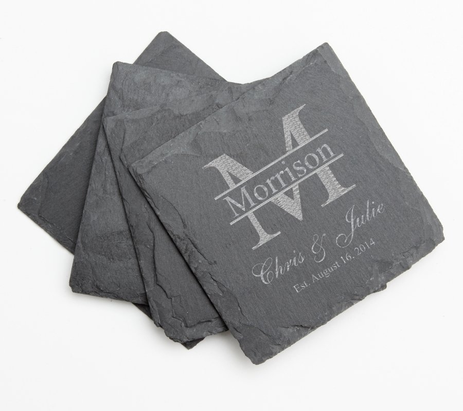Set of 4 Engraved Slate Coasters