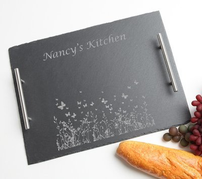 Personalized Slate Serving Tray Stainless 15 x 12 DESIGN 30