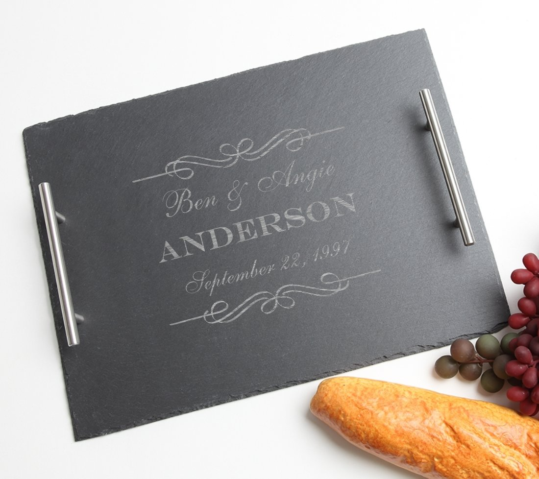 Personalized Slate Serving Tray Stainless 15 x 12 DESIGN 9 SSTS-009