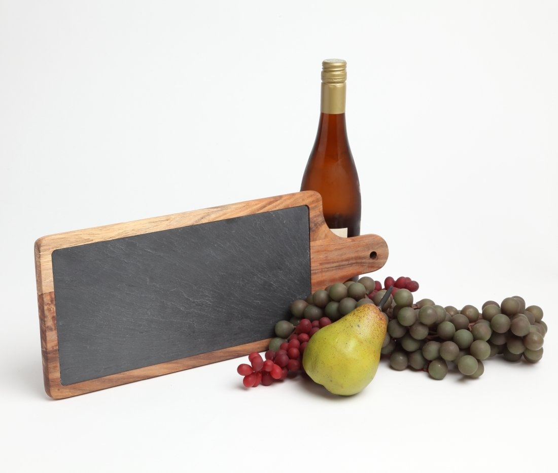 Personalized Acacia Wood and Slate Cheese Board 17 x 7