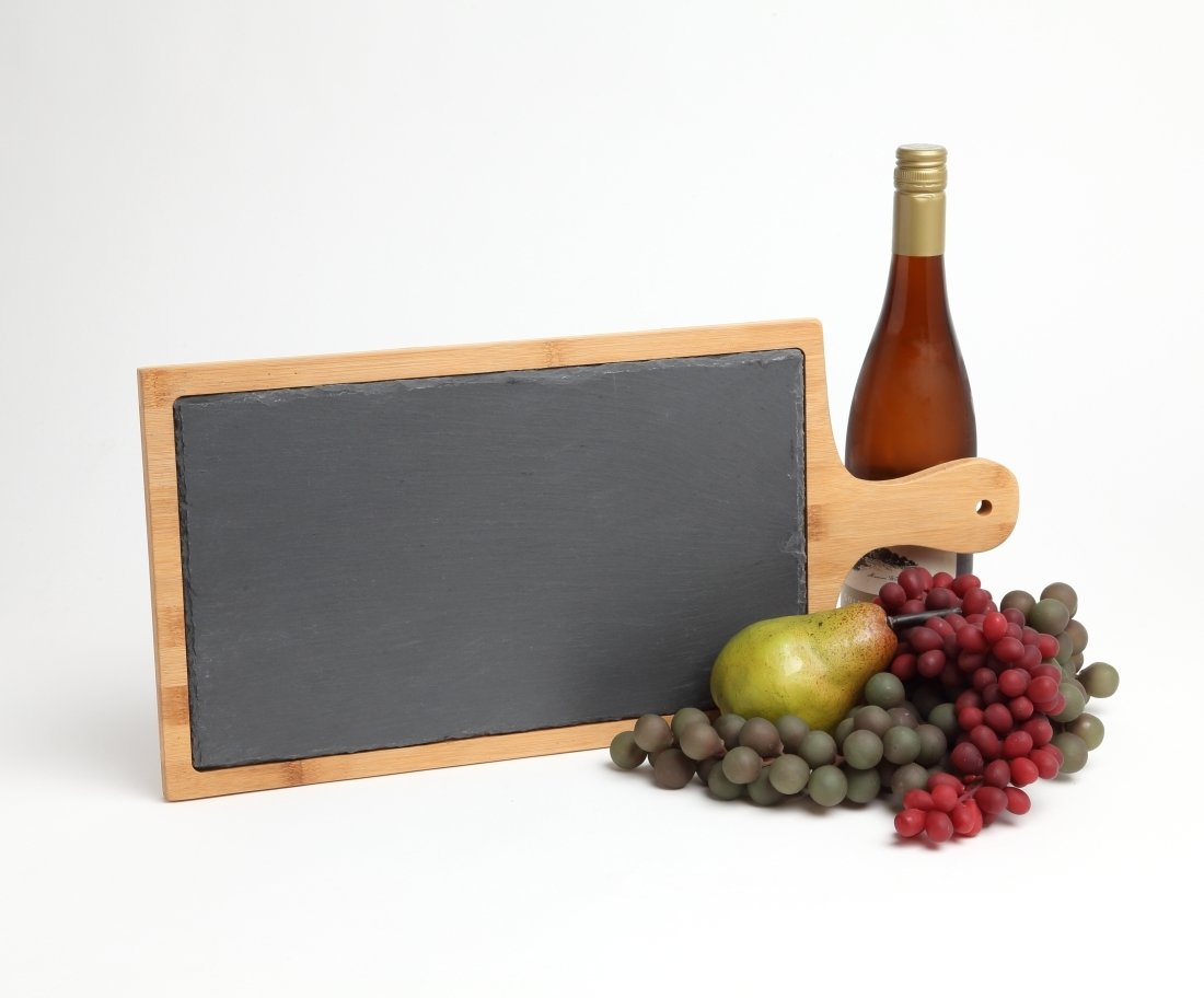 Engraved Cheese Board Slate and Bamboo 19 x 9