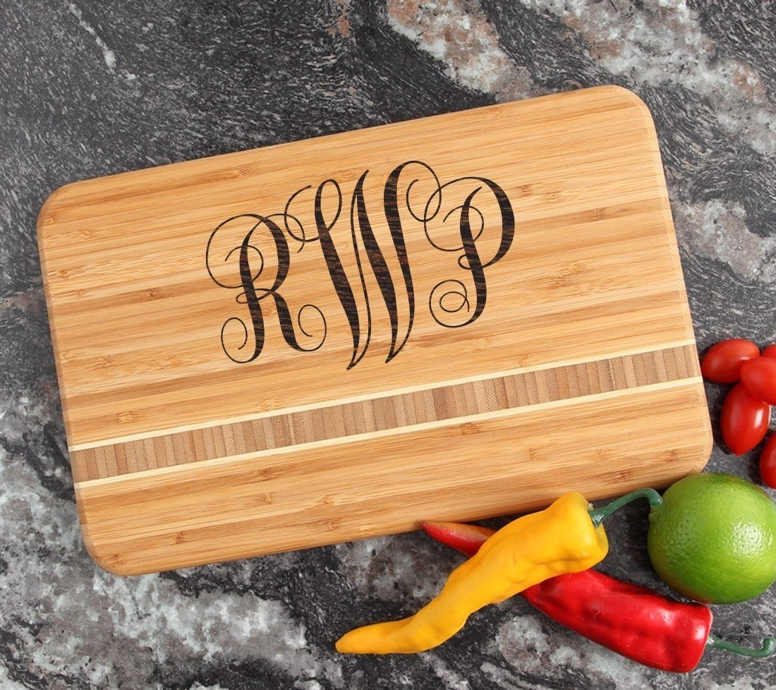 Personalized Bamboo Cutting Board Engraved 12 x 8 DESIGN 1 CBE-001