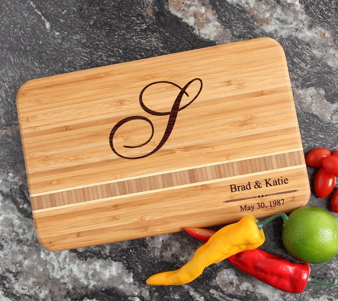 Personalized Bamboo Cutting Board Engraved 12 x 8 DESIGN 11 CBE-011