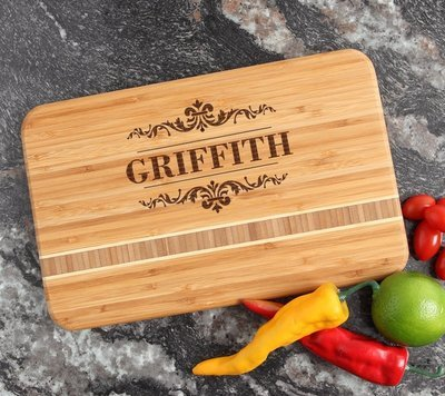 Personalized Bamboo Cutting Board Engraved 12 x 8 DESIGN 16