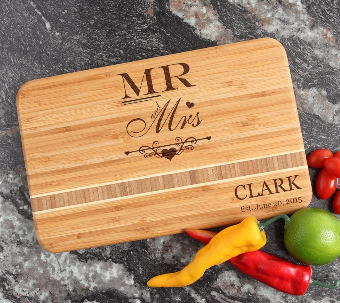 Personalized Bamboo Cutting Board Engraved 12 x 8 DESIGN 21 CBE-021