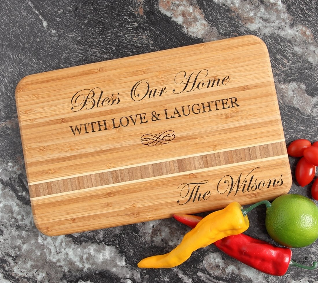 Personalized Bamboo Cutting Board Engraved 12 x 8 DESIGN 22 CBE-022