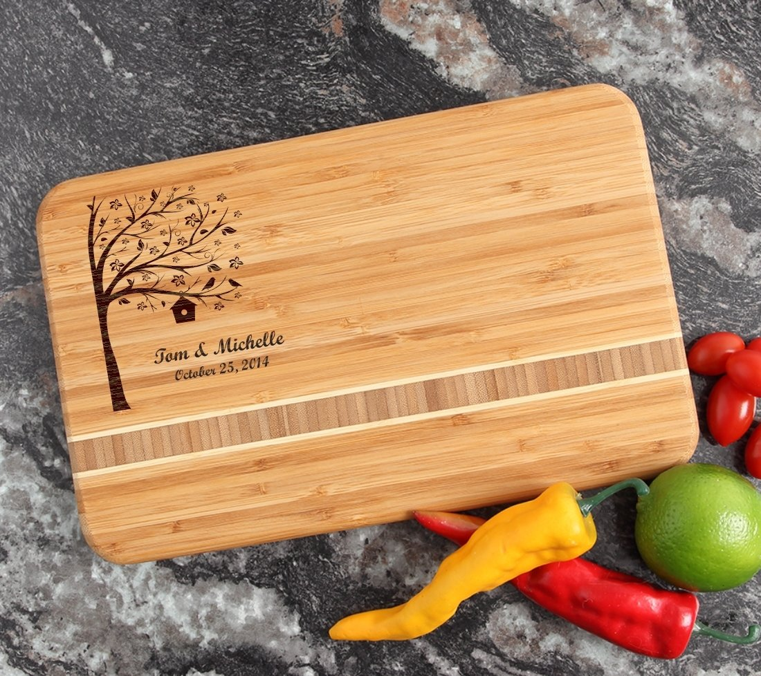 Personalized Bamboo Cutting Board Engraved 12 x 8 DESIGN 27 CBE-027